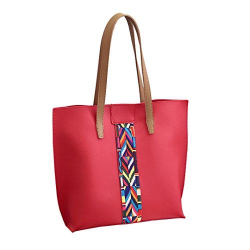 Wewod Bolsos de Mujer PU Cuero 2 Unidades Set Bolsos Totes+Carteras Bandolera 32 x 31 x 14 cm (L*H*W) Rojo 2