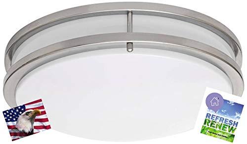 (iLett LED 15 Watts Flush Mount Fixture Ceiling Light, Brushed Nickel, 12 inches, 1200lm, 6000K (Cool White), ETL, 120V, Dimmable)