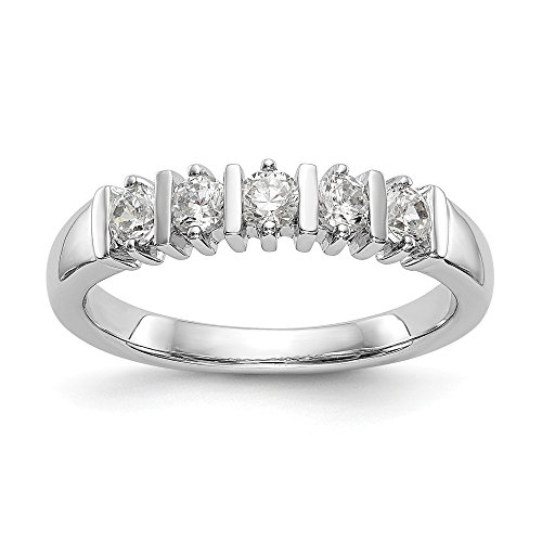 Bar Channel Diamond Band - KIOKORI 14K White Gold Ladies 5-Stone Diamond Channel Bar Set Band 1/2-Carat tw ~ Ring Size 8 ~ by Roy Rose Jewelry