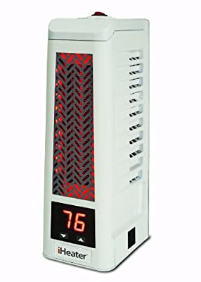 iHeater IH-101-W Infrared Heater, Heats Up to 500 Square Feet, Mini, White