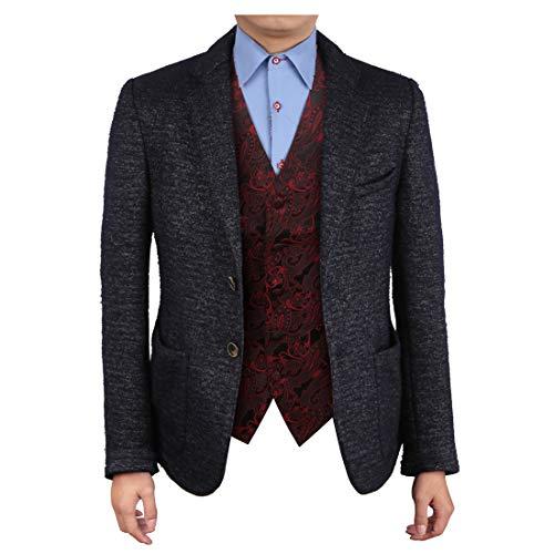 Epoint EGC2B02B-XL Dark Red Vest Patterns Microfiber Black-Back Waistcoat Gift Idea For -
