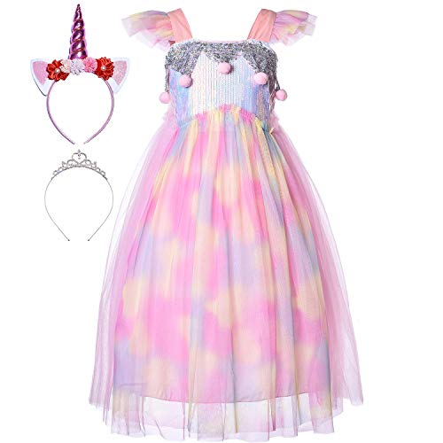 Princess Little Mermaid Ariel Costume Rainbow Unicorn Dress Up Clothes Sequin Mesh Ribbon Tutu Outfit Skirt with Tiara Headband Accessories for Toddler Girls Birthday Party Halloween 4T 5T 4-5 Years]()