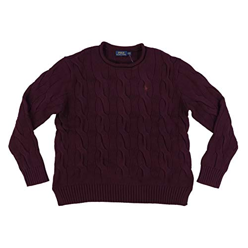 Polo Ralph Lauren Womens Rolled Crew Neck Cable Knit Sweater (L, Burgundy Red) (Ralph Lauren Cable Sweater)