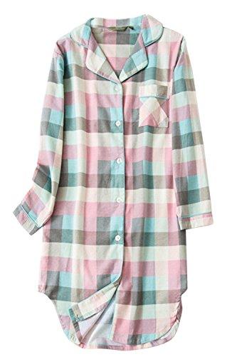 Asherbaby Womens Classic Plaid Sleepshirt Button-up Shirt Dress Lounge Sleepwear (US S=Asian Tag L, Pink)