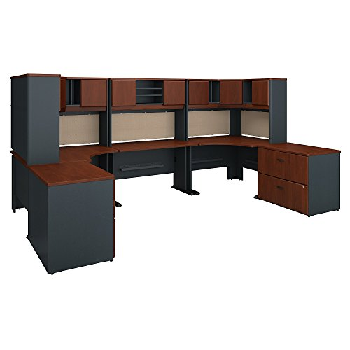 Bush Business Furniture Series A 2 Person Workstation with Corner Desks, Hutches and Storage in Hansen Cherry and Galaxy ()