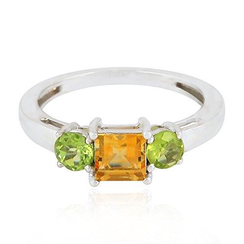 Natural Peridot Citrine 925 Sterling Silver Ring Genuine Gemstone (Sterling Silver Peridot Citrine Ring)