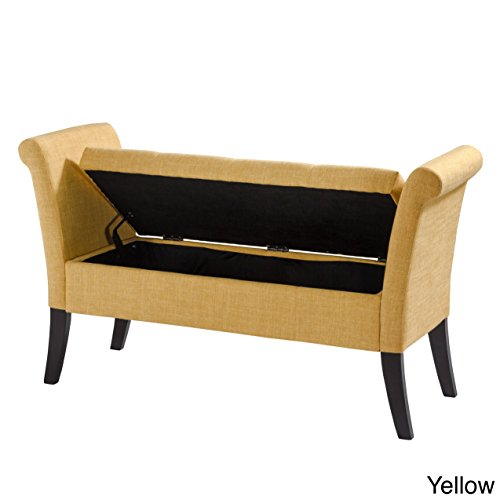 Corliving - Antonio Storage Bench With Scrolled Arms - Yello