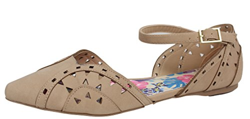 City klassifisert Womes Spisse Tå Cutout Ankel Strap Flat Sandal Naturlig