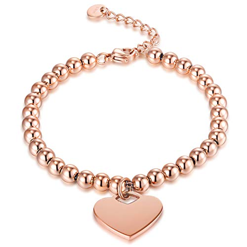 zindov Heart Charm Bracelet Stainless Steel Rose Gold Beaded Bracelet for Women Silver Color Fashion Jewelry Ladies (Rose Gold) ()
