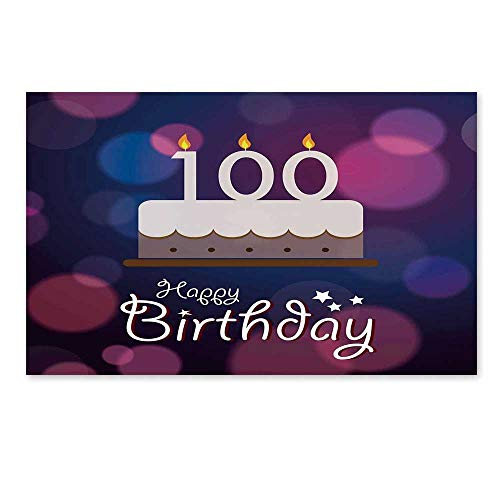 (C COABALLA 100th Birthday Decorations Stylish Door Mat,Cartoon Print Cake and Candles on Abstract Backdrop Image for Office Home,17.7