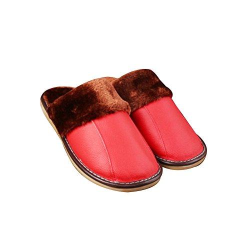 TELLW Zapatillas de cuero de invierno c¨¢lido para hombre y mujer amantes de interior Zapatillas de piel de vaca de suave permeabilidad Rot