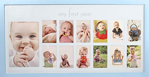 Baby's First Year Frame in Elegant Blue Natural Wood - My First Year Baby Boy Picture Frame for Photo ()