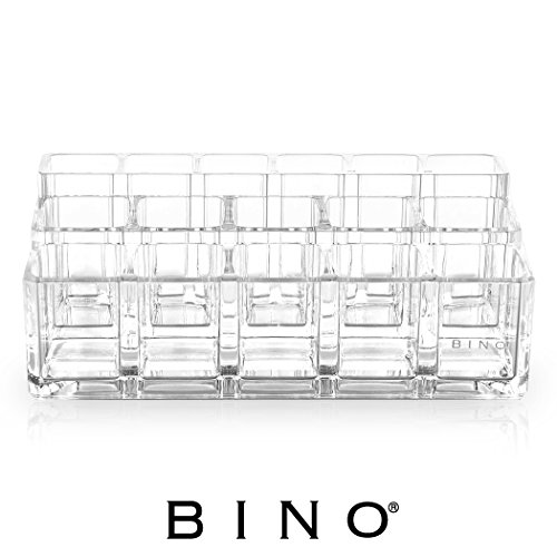 BINO The Lip Sync' 16 Compartment Acrylic Lipstick and Nail Polish Organizer Tray, Clear and Transparent Cosmetic Beauty Vanity Holder Storage