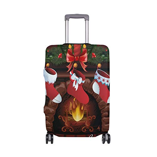 SUABO Travel Luggage Cover Fits 22-24 inch Suitcase with Christmas Fireplace Printed Suitcase - 22 Fireplace Inch