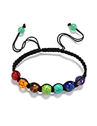 Susenstone 7 Chakra Healing Balance Beads Bracelet Yoga Life Energy Bracelet Lovers Casual Jewelry 13 Rainbow Natural Stone Wristlet