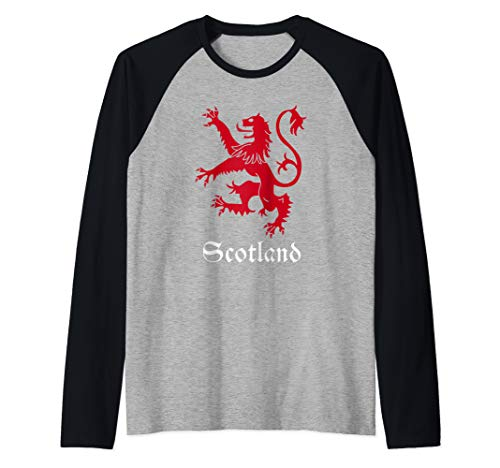 - Scottish Lion Rampant Crest Scotland Coat Arms Gift Raglan Baseball Tee