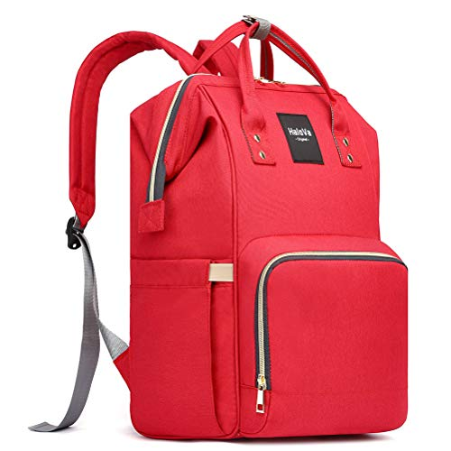 HaloVa Diaper Bag Multi-Function Waterproof Travel Backpack Nappy Bags for Baby Care, Large Capacity, Stylish and Durable, Red