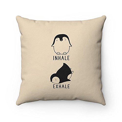 High quality Inhale Exhale Penguin Pillow, Penguin Yoga Throw Pillow Covers, Pillow Cases, Animal Lover Cushion, Funny Housewarming gift, Home Decor by Anna Archery