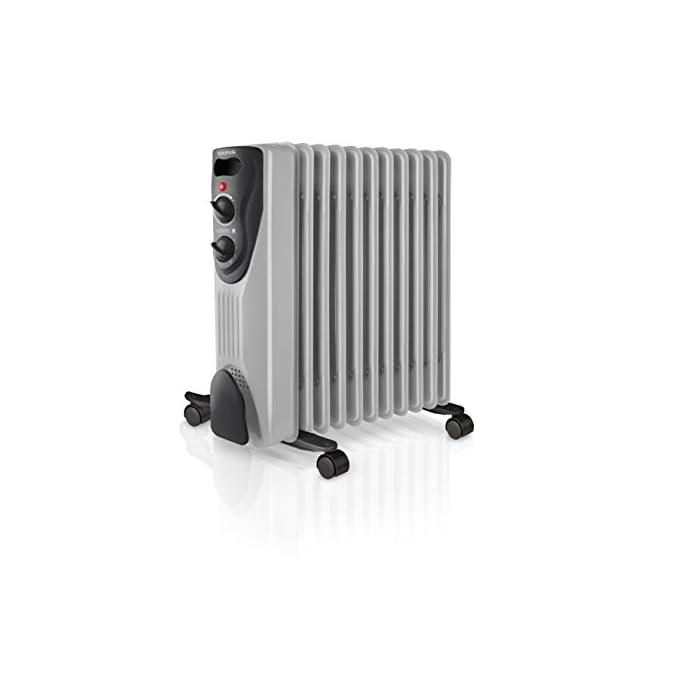 41v6L bPlHL 2000w; radiador de aceite con una potencía máxima de 2000w; obtén un ambiente cálido en tu hogar. 11 elementos de 14 cm de ancho 3 niveles de potencía; elige la potencía deseada según cada situación, 3 posiciones distintas de 1000w, 1500w y 2000w Termostato; ajusta el nivel de calor deseado; el radiador se conectará y desconectará automáticamente según la temperatura ambiente