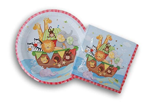 Noah's Ark Birthday Party Supply Kit - (16) Beverage Napkins and (8) Cake Plates]()