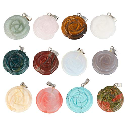 SUNYIK Carved Assorted Stone Pendant Set for Necklace, Healing Crystal Jewelry Charms Kits, Rose Flower, Pack of 12