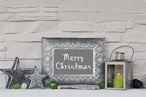 Yeele Christmas Photography Background 6x4ft Silver Metal Frame Pentagram Lantern Green Candle White Gray Brick Wall Merry Christmas Xmas Decoration Photo Backdrops Pictures Photoshoot