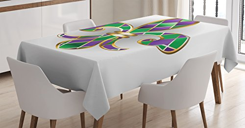 """Ambesonne Fleur De Lis Tablecloth, Golden Yellow Colored Lily Diamond Shapes Royalty Theme, Rectangular Table Cover for Dining Room Kitchen Decor, 60"""" X 84"""", Green Purple"""