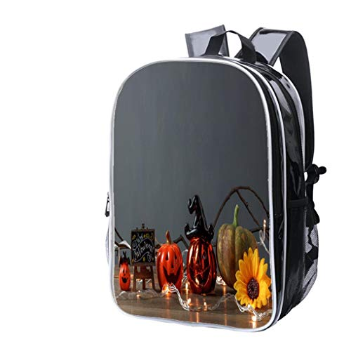 High-end Custom Laptop Backpack-Leisure Travel Backpack Accessory of Happy Halloween Festival conceptEssential Decorations on Water Resistant-Anti Theft - Durable -Ultralight- Classic-School-Black ()