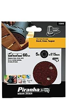 BLACK & DECKER X32002-XJ - 5 Discos ø 115 mm. Para lijadora rotorbital. Madera, pintura, barniz, yeso, metal y plástico. Grano 60. Larga Duración. metal y plástico. Grano 60. Larga Duración. Stanley Black and Decker