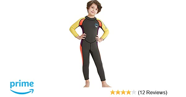 ecd06057fce Neoprene Kids Wetsuit for Boys Girls 2.5MM One Piece Full Body Long Sleeve  Swimsuit