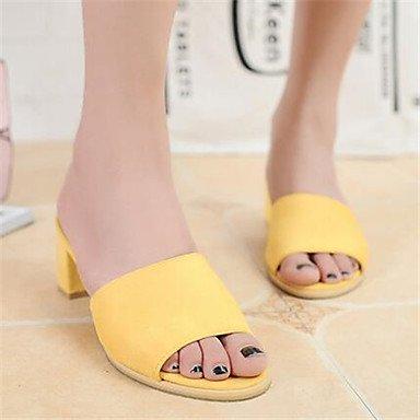 LFNLYX Compra Corea nuevo verano 2016 versión coreana de la palabra banda con áspero con suede zapatillas sandalias zapatos Yellow
