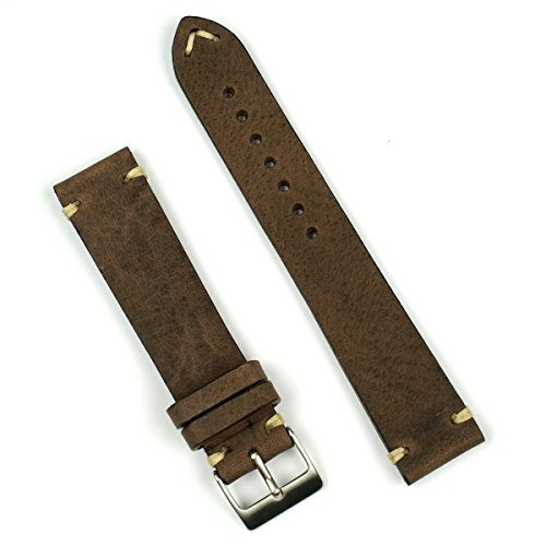 B & R Bands 20mm Saddle Brown Classic Vintage Watch Band Strap - Medium Length