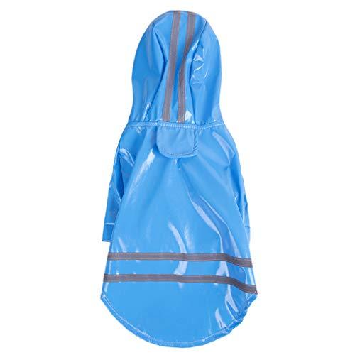 Sumen Puppy Dog Raincoat Waterproof Clothes Pet Hooded Slicker Blue