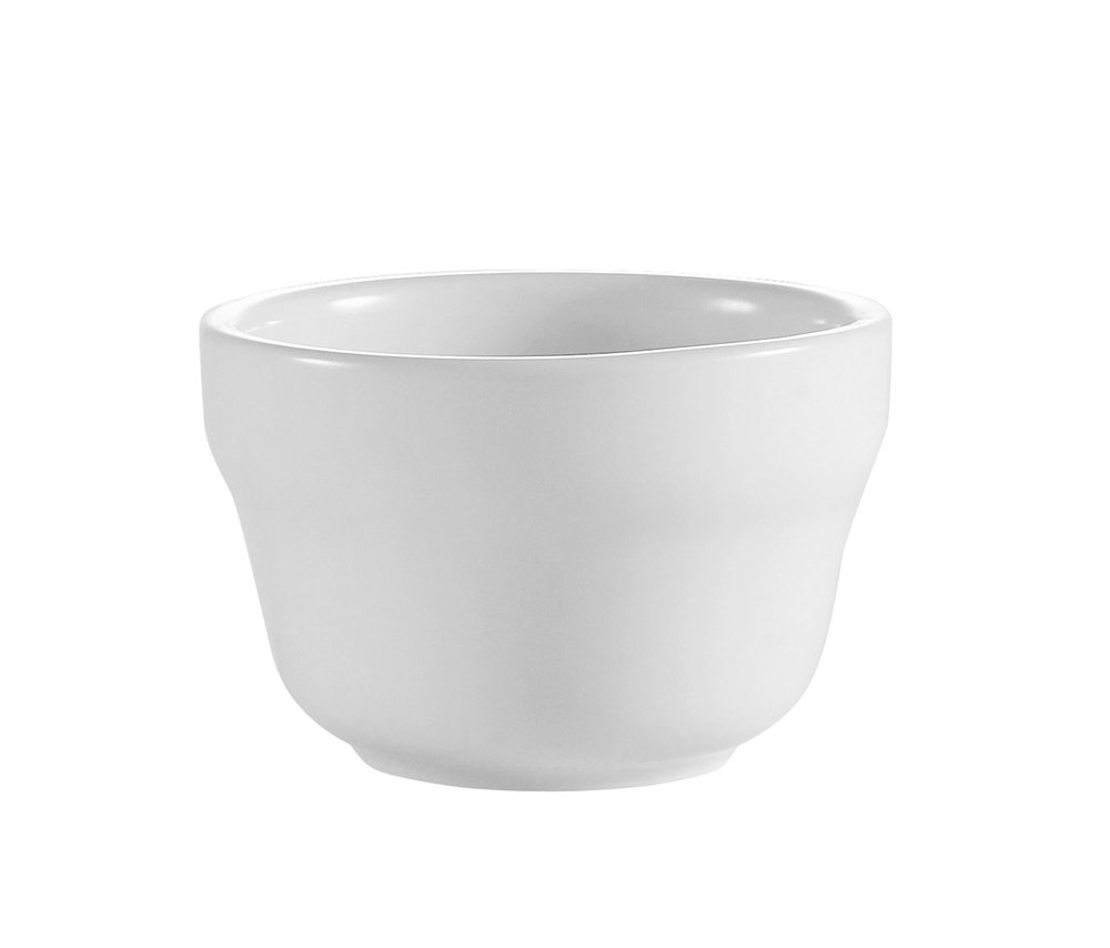 CAC China RCN-4 Clinton Rolled Edge 4-Inch Super White Porcelain Bouillon, 7.25-Ounce, Box of 36