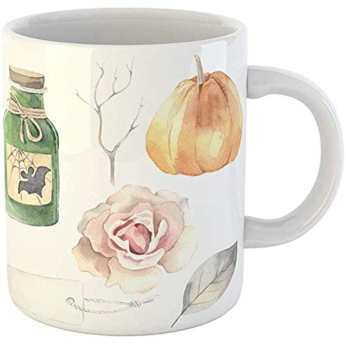 Funny Coffee Tea Mug Gift 11 Ounces Funny Ceramic Halloween Watercolor Poison Bottle Pumpkin Rose Label Leaf Branch Gifts For Family Friends Coworkers Boss -
