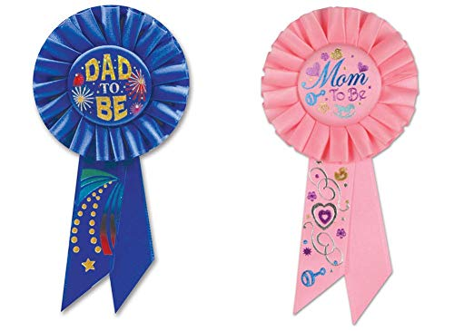 Mom to Be and Dad to Be Rosette Ribbon Set (2 Pieces)