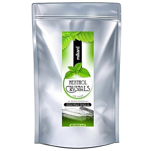 Milliard Menthol Crystals USP Grade - 1LB Package - Therapy Bath 1 Lb Powder