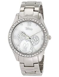 Disney Women's Mickey Mouse Rhinestone Accent Tone Bracelet Watch White MK2128