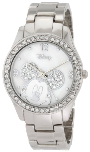 Disney Women's MK2128 Mickey Mouse Rhinestone Accent Silver-Tone Bracelet (Disney Mickey Mouse Watch)