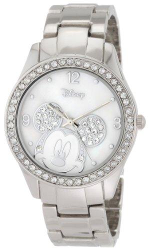 Disney Women's MK2128 Mickey Mouse Rhinestone Accent Silver-Tone Bracelet Watch