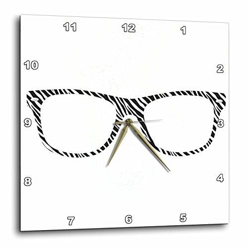 """3D Rose Black and White Zebra Print Eye Glasses Illustration Wall Clock, 15"""" x 15"""""""