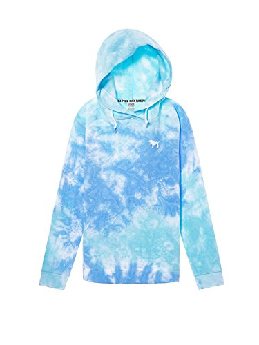 Victoria's Secret Pink Crossover Pullover Hoodie Sweatshirt Blue Tie Dye- Small