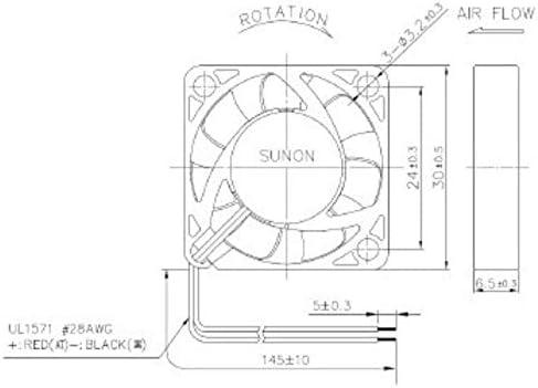 Ventilator Fan 5V 0,56W 30x30x6mm 8,3m/³//h 23,6dBA ; Sunon MF30060V11000UA99