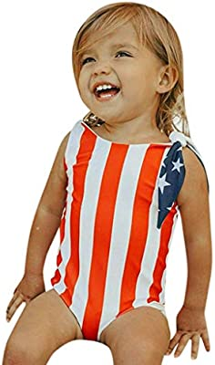 562252f3899 Independence Day Toddler Baby Girl 4th of July Star Striped Swimsuit Bikini  Swimwear Bathing Suit (Red, 18-24 Months): Amazon.com: Grocery & Gourmet  Food