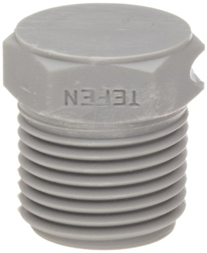 Tefen Nylon 6/6 Pipe Fitting, Hex Plug, Gray, 1/4