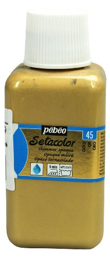 Pebeo Setacolor Opaque Fabric Paint 250-Milliliter Bottle, Shimmer Gold