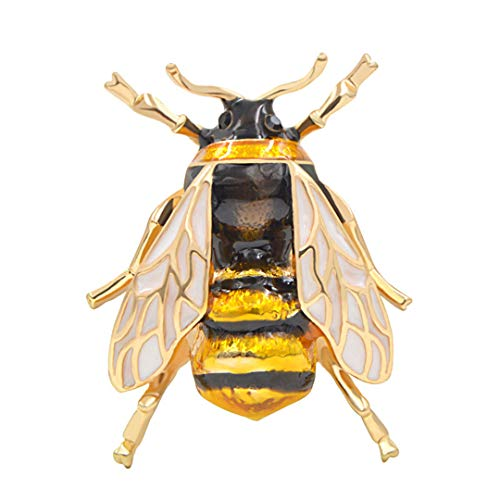 - Unisex Colorful Insect Brooches Cute Bee Brooch Pin Gold Color Enamel Jewelry Dress Accessories High Qulity Yellow