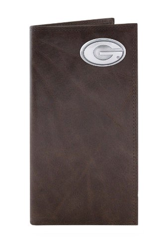Leather Bulldogs Georgia - NCAA Georgia Bulldogs Brown Wrinkle Leather Roper Concho Wallet, One Size