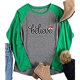MAXIMGR Women's Christmas Believe Santa Hat Printed Long Sleeve Raglan Baseball T-Shirt Size XXL (Green)