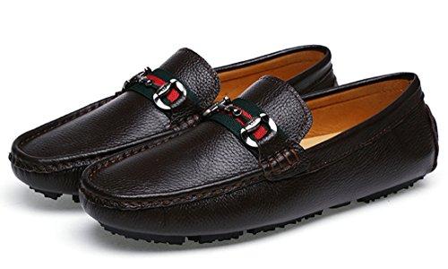 Tda Mens Klassiska Komfort Ränder Läder Driv Loafers Båt Skor Kaffe